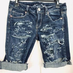 AMERICAN EAGLE SKINNY KICK Cut Off Jean Shorts 8
